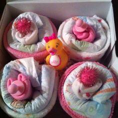 Diaper cupcakes