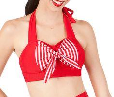 ROXY Red Retro Halter Sailor Bikini Top Sizes  XL by MySugarDoll on Etsy https://www.etsy.com/listing/117568960/roxy-red-retro-halter-sailor-bikini-top