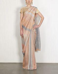 Slate And Stone Striped Linen Sari-Anavila