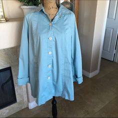 """❤️Sale❤️ J.Jill Swing Coat Cute Coat perfect for spring! Light blue in color. Lined. Two front pockets and decorative detail on sleeves. Bust 42"""" Length 32"""". Shell is 96% Cotton and 4% Lycra Spandex. Lining is 100% Polyester. Machine wash and Tumble dry. Great pre loved condition. J. Jill Jackets & Coats"""
