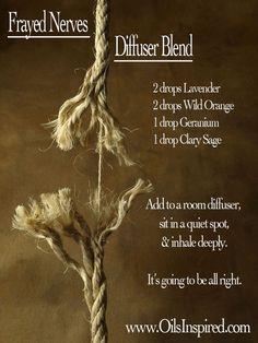 Frayed Nerves Diffuser Blend - learn more at http://www.OilsInspired.com