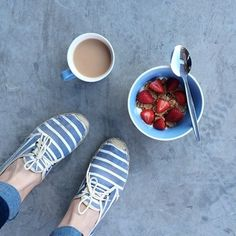 A patriotic start to the day: @darkbluestripes wearing our light navy and white Classic Stripe Lace Up espadrilles #soludos #soludossummer #stripes #espadrilles