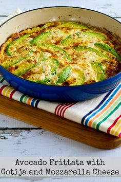 It's a simple idea, but this Avocado Frittata with Cotija and Mozzarella Cheese was so amazingly good. And this healthy frittata is low-carb, Keto, low-glycemic, gluten-free, South Beach Diet friendly, and meatless! Use the Recipes-by-Diet-Type Index to find more recipes like this one. Click here to PIN this recipe so you can make it later! (Sometimes on Fridays I …