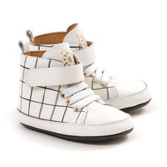 White Grid Hi-Top by Pretty Brave | Little Darcy