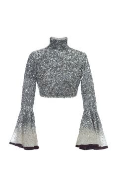 Silk Sequin Crop Top by Hussein Bazaza Party Wear Indian Dresses, Designer Party Wear Dresses, Indian Gowns Dresses, Indian Fashion Dresses, Dress Indian Style, Indian Designer Outfits, Indian Outfits, Hijab Dress Party, Stylish Dress Designs