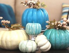 blue pumpkins...I would LOVE some GREEN ones!!