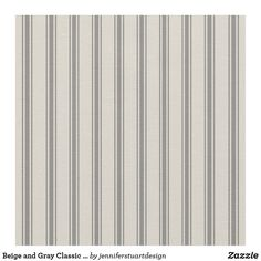 Beige and Gray Classic Ticking Stripes Fabric