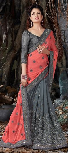718109 Black and Grey, Pink and Majenta  color family Embroidered Sarees, Party Wear Sarees in Crepe, Faux Chiffon fabric with Lace, Machine Embroidery, Mirror, Thread work   with matching unstitched blouse.