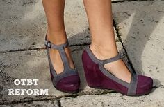 OTBT Reform T-Strap Wedge--Beautiful oiled nubuck t-strap wedge in eggplant with gray contrast.