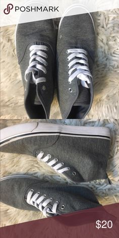 Grey High-top Sneakers Worn only a few times. Great condition. High top style. Grey fabric. Rubber sole. Divided Shoes Sneakers