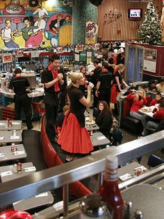 Ellen's Stardust Diner - NYC  Loved the singing wait staff, food was pretty good too :)