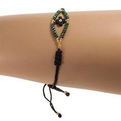 Handmade Black Bracelet With Green Crystals - Anthos Crafts
