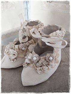little handmade felt child's shoes