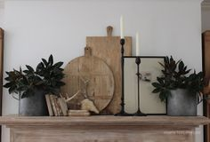 Sherry's fall mantle - magnolia leaves used in the galvanized buckets. Home Decor Accessories, Decorative Accessories, Mantel Styling, Driven By Decor, Rustic Bread, Magnolia Leaves, Magnolia Farms, Fireplace Mantels, Mantles