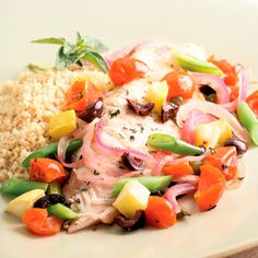 Tilapia and Summer Vegetable Packets!  Wrapping vegetables and fish in a foil packet for grilling or baking is a foolproof way to get moist, tender results. Tilapia and summer vegetables pair with olives and capers for a Mediterranean flair.