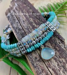 Hand crafted unique quality gemstone artisan by soulfuledges Aquamarine Bracelet, Turquoise Bracelet, Bohemian Bracelets, Fashion Bracelets, Purple Quartz, Green Opal, Boho, Christmas, Xmas Gifts