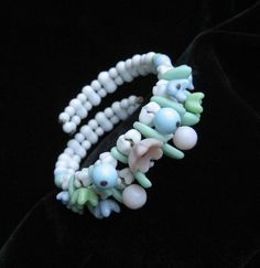 White and Pastel Glass Bead Memory Wire Bracelet by Elsewind, $22.00