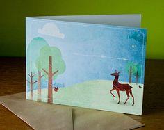 Wenskaart met hert | bos | illustratie | card with deer | forrest | illustration