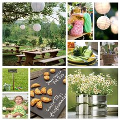 picnic theme wedding idea - Lime engraved with names, flowers in food storage tins and empanadas. :)