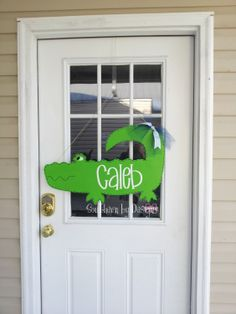 ALLIGATOR for NURSERY or SUMMER  Wooden Door by SouthernByDesignCo, $25.00