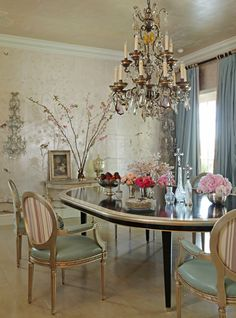 Martyn Lawrence-Bullard, wallpaper. but my style would have color on those chairs & chandelier, pink and light turquoise