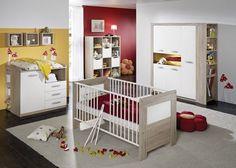 Babyzimmer Moritz Eiche Sägerau Weiß matt 5327. Buy now at https://www.moebel-wohnbar.de/babyzimmer-komplett-moritz-kinderzimmer-4-tlg-eiche-saegerau-weiss-5327.html