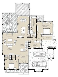 Craftsman Style House Plan - 5 Beds 6.5 Baths 5039 Sq/Ft Plan #921-3 Floor Plan - Main Floor Plan - Houseplans.com