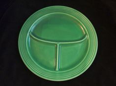 Vintage Fiesta Ware 10 1/2 inch Original Green Divided Plate Fiestaware on Etsy, $60.00