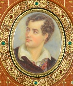"""""""Hours of Idleness"""" by Lord Byron (George Gordon Noel Byron), first edition second issue, with early century jewelled Cosway-style binding by Sangorski & Sutcliffe, the i… Lord Byron, Book Letters, Miniature Portraits, Literature Books, Book Binding, Pilgrimage, Book Art, Auction, Miniatures"""