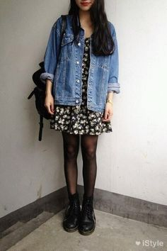 floral dress under denim jacket