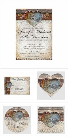 Design your own custom rustic wedding invitations from easy to edit templates. Wedding Invitation Sets, Wedding Sets, Invite, Country Wedding Cakes, Rustic Wedding, Country Style Dresses, Design Your Own, Rsvp, Reception