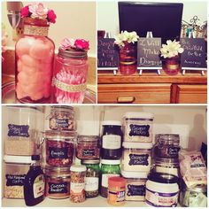 I like to organize and I like to make stuff. I went to the little dollar store craft area at Target and grabbed some stuff. With a cool temp glue gun I turned a plain pink Mason Jars into cute additions to my guest bathroom.  As you can see I don't watch tv much in my bedroom anymore. All of that came from the same area of Target. Costs a dollar or more. Those chalkboards have things that inspire me and keep me focus on something I want. I glue-gunned flowers I had in my craft bin.  I needed…