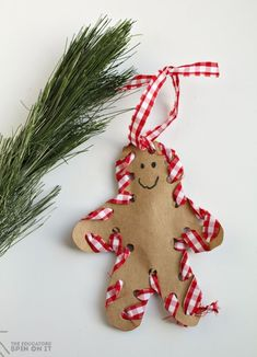 how to make a hand sewn gingerbread man ornament with your child - Homemade Christmas Decorations Pinterest