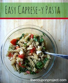 Caprese Pasta salad with ingredients from Trader Joe's!