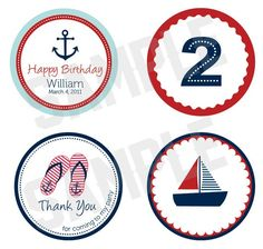Nautical Theme Party Tags - Digital File. $4.50, via Etsy.
