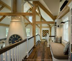 There's no better place to experience the workmanship of a timber frame home than in the loft. A loft is one of the best places to witness the beauty and detail of timber framing. See a variety of lofts from the designers at Riverbend Timber Framing. Timber Frame Homes, Timber House, Timber Frames, Style At Home, Log Home Decorating, Decorating Ideas, Lodge Style, Log Homes, My Dream Home