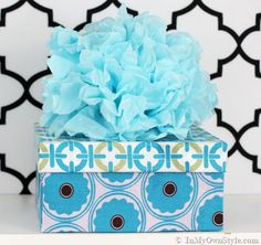 Gift-Boxes Fabric Covered Shoe Box with Tissue Flower Topper from In My Own Style