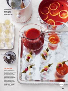 bloody mary bar, martha stewart living dec 2013 OR punch with Tropicana Sanguinello orange juice
