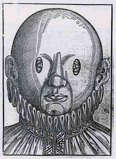 """Correcting Sight: Georg Bartisch (1535-1606) a couldn't-write-but-could-read barber-surgeon, from Dreseden, provided this spectacular illustration for his Ophthalmodouleia Das ist Augendienst (1583) (Treatment of the Eye).  This was purely a cloth over the eyes to """"help"""" correct strabismus (crossed eyes).   The slits in the cloth were meant to force the muscles of the eye to conform to their normal positions / Duke University Medical Center Library, History of Medicine Collections, Durham…"""