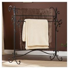 Bathroom, Collection Of Elegant And Classic Towel Racks For Bathrooms: Towel Racks For Bathrooms Elegant Four Bar Scrolled Metal Towel Rack