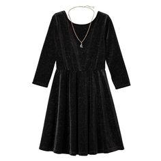 Girls 7-16 & Plus Size Lilt Glitter Velvet 3/4-Length Sleeve Skater Dress with Necklace, Girl's, Size: