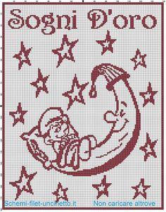 Copertina con baby Puffo sulla luna schema filet uncinetto