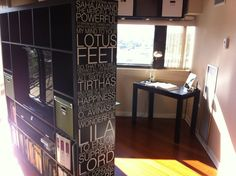 Vinyl quotes on the side of an Expedit shelf!!! I sooooo want to do this! by IKEA Hackers