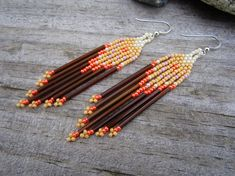 Fall Seed Beaded Earrings  Fringe Beaded by Elewmompittseh on Etsy