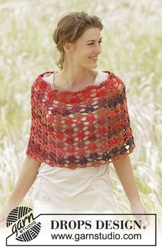 "#Crochet DROPS poncho with fan pattern, worked top down in ""Big Delight"". Free Pattern"