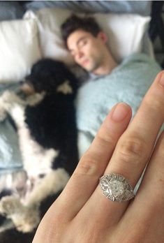 Brides.com: 19 Amazing Engagement-Ring Selfies                                                   Bling it on! Circle your center stone with a twinkling diamond halo.