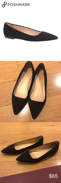 """J. Crew Harper Scalloped Suede Flats J. Crew Harper Scalloped Suede Flats -Size 7. True to size. -Suede upper. -Leather lining. -3/8"""" heel -Excellent condition, very small scuff on suede on right shoe.  NO Trades. Please make all offers through offer button. J. Crew Shoes Flats & Loafers"""