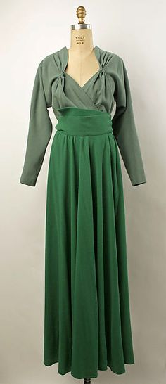Gray and green dinner dress, 1941. Designed by Valentina, American. Wool.