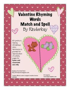 Valentine Rhyming Words Match and Spell Pack free