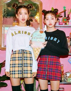 I love this matching coordinate! The cute space buns and makeup are also adorable~~~The skirts; Zip front closure very chic! Ulzzang Fashion, Harajuku Fashion, Kawaii Fashion, Cute Fashion, Fashion Beauty, Girl Fashion, Korea Fashion, Kpop Fashion, Asian Fashion